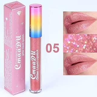 ZeHui Women Makeup Lipstick Gloss Shimmer Shining Liquid Lip Gloss Pigments Long Lasting Moisturizer Diamond Glitter Liquid Lipstick Cmaadu matte to bright 05