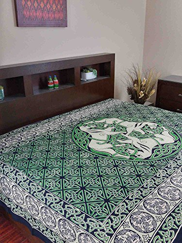 Green & Black & White Celtic Horse Indian Bedspread, Double Size