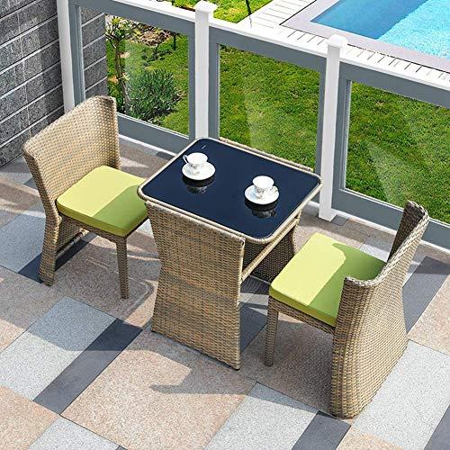 3PC rotin Bistro Set 2 Chaise Plateau en Verre Table Basse en Osier Weave Meubles for Jardin Balcon Patio, A WKY (Color : A)