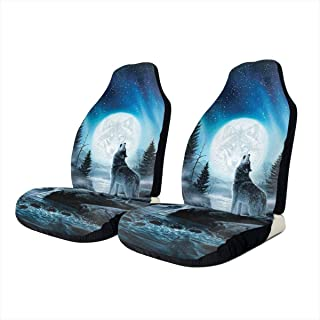 Panlong~! Wolf Moon Art Seat Covers for Auto Truck Car SUV Hunter Style Seat Cover for Car UV and Heat Reflector
