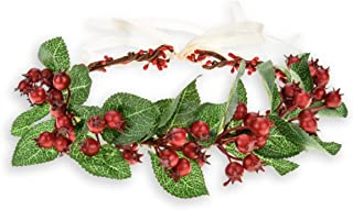 Christmas Flower Crown Festival Floral Headband with Red Artificial Berry Girls Wedding Flower Wreath Garland For Party