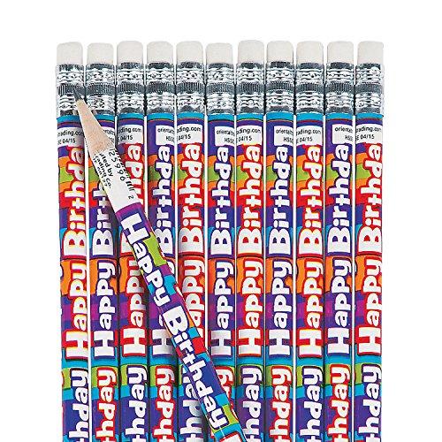 Fun Express Happy Birthday Pencils for Birthday - 24 Pieces