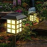 Luces solares para jardín, Zorara 2 piezas de luces solares para jardín exterior, luces solares LED para jardín luz blanca cálida para jardín decoración IP65 impermeable para terraza exterior jardín