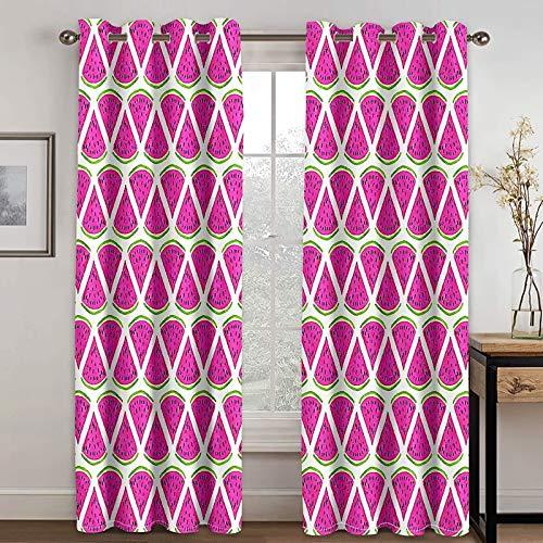 Bishilin Sovrum mörkläggningsgardiner set om 2, vattenmelon fönster gardin ogenomskinlig barnrum med öljetter 274 x 214 cm