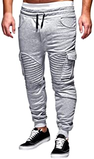 LEE Brother Heren Pants, Classics Cargo Pants Elastic Jogging Young Fashion Pants Waist with Drawstring Casual Pants Sports Pants Training Pants pone2ua (Color : Silver, Size : S)