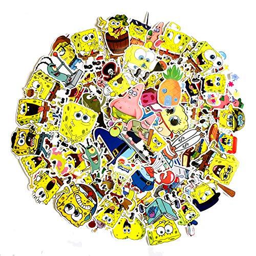 LSHLSH Dibujos animados Animación Bob Esponja Enviar Gran Estrella Graffiti Etiqueta Etiqueta Engomada Portátil Teléfono 100