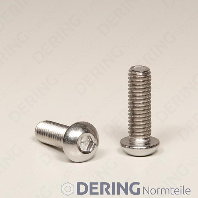 10 St/ück rostfrei DERING Linsenkopfschrauben M5 X 70//70 mit Innensechskant ISO 7380 Edelstahl A2 | Flachkopfschrauben