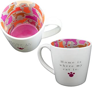 Mug ~ Ceramic Tea/Coffee ~ Inside Out Mug ~ HOME IS WHERE MY CAT IS... by Two Up Two Down