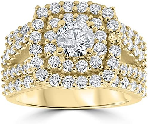 3ct Diamond Engagement Wedding Double Cushion Halo Trio Ring Set 10k Yellow Gold Size 8 product image