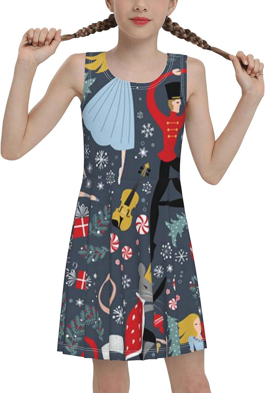 SDGhgHJG Christmas Ballet Sleeveless Dress for Girls Casual Printed Pleated Skir