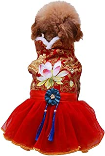 Yu-Xiang Lotus Flower Tang Suit Dog Skirt Cat Lace Fringed Skirt Pet Floral Embroidered Lace Wedding Dress Christmas New Y...