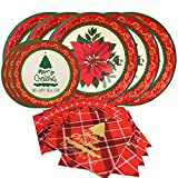 Fiore di Natale carta usa e getta Dinnerware set-serves 20- include 25,4 cm piatti di carta, piatti da dessert e tovaglioli Pack of 20 Christmas themed
