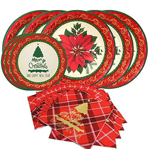 Juego de vajilla de papel desechable con diseño floral navideño, sirve para 20 personas, incluye platos de poinsettia de 25,4 cm, platos de postre vintage y servilletas de papel.