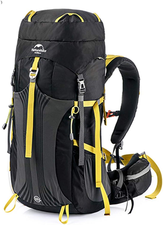 HENDTOR 55L 65L Professionelle Wanderrucksack Wasserabweisend Backpacking Bag Für Camping Trekking Bergsteigen 65L schwarz