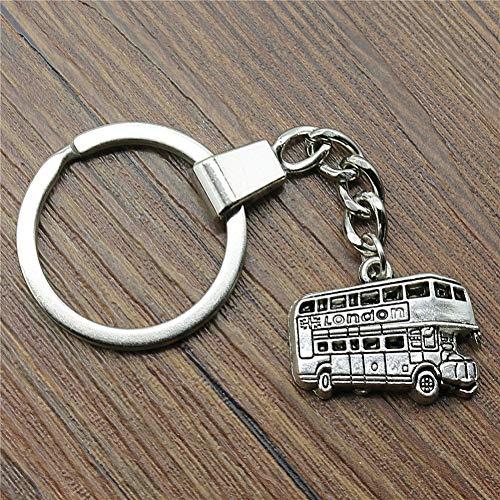 N/ A Bus sleutelhanger bus sleutelhanger 25x20mm antieke brons antieke zilver Londen bus sleutelhanger souvenir cadeau voor mannen