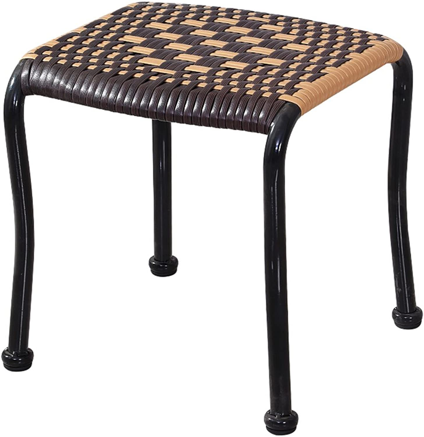 Footstool Rattan Stool Cool Small Bench Plastic Stool shoes Bench Home Bedroom Living Room Creative Adult Dining Chair Stool 30 x 30 x 30cm