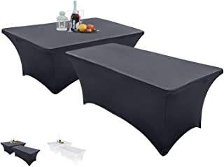 Set of 2 – Spandex Table Cover – Rectangular 6 Feet – Stretchable and Wrinkle Free – Elegant Look – Multi-Occasional Table Cloth – Kitchen Table, Dessert Table, Buffet Table