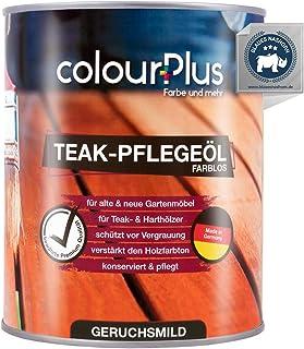 colourPlus Teak Öl 1 Liter, farblos natürliches Holzöl aussen - Holz Öl imprägniert und schützt - Holzöl innen beugt Rissbildung vor - Holzschutzöl außen - Hartholzöl - Made in Germany