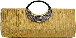 Wiwsi Womens Rhinestone Pleated Clutch Bag Evening Party Wedding Clutch Handbag
