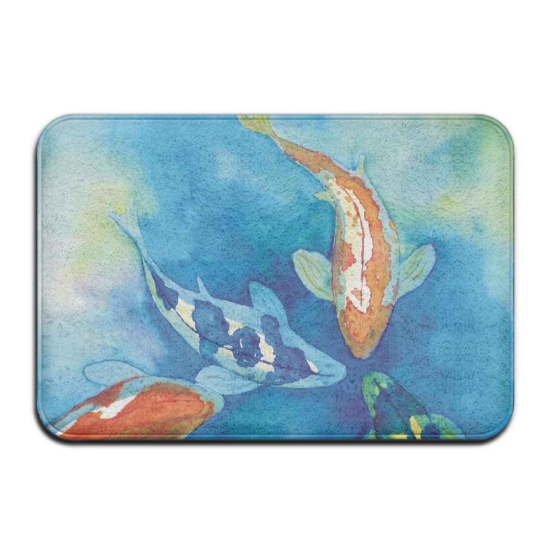Pkdkcod Cute Koi Fish Non Slip Indoor Doormat For Home Office Clean Absorbent Antiskid Kitchen Bath Mats