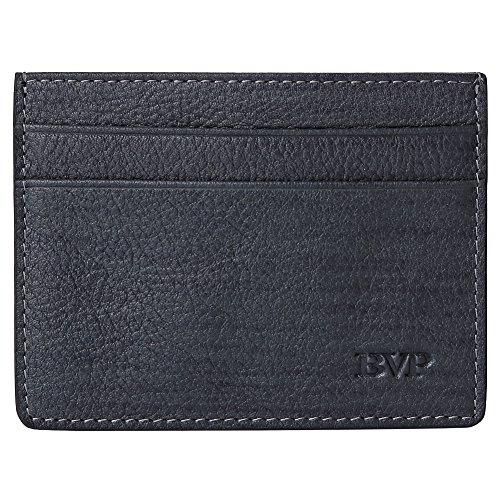 BVP Súper Delgada Monedero Mini Billetera Tarjetero Cartera de Piel Calidad Vacuno para Hombre Mujer (Gris Claro)