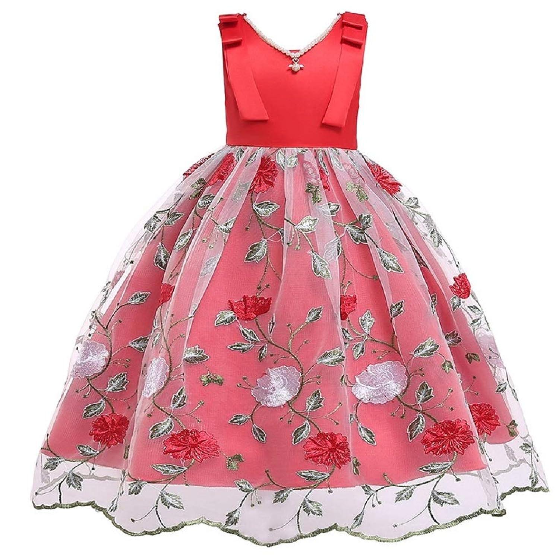Candykids子供ドレス ロングドレス 女の子 ジュニア ピアノ 発表会 パーディー 演奏会 フォーマル 入園式 結婚式 ワンピース (レッド, 140cm)