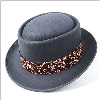 2019 Mens Womens Hats Unisex Men Women Flat Top Hat Autumn Fashion Pork Pie Hat with Cloth Dad Wool Fedora Hat Trilby Hat Dance Party Jazz Hat Size 56-58CM Soft (Color : Gray, Size : 58)