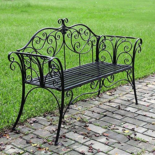 HLC 133*49*90 CM Metall Bank Gartenbank Ruhebank doppelte Sitz mit Rücken aus Eisen Schwarz - 7