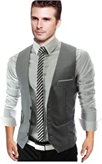 Men's V Neck Business Fit Slim Vest Suit Modern Casual Tuxedo Waistcoat Jacket Vest Men's Suit Men Blazer Vest