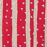 Dunkelrosa Wachstuch mit naturfarbenen Streifen sowie