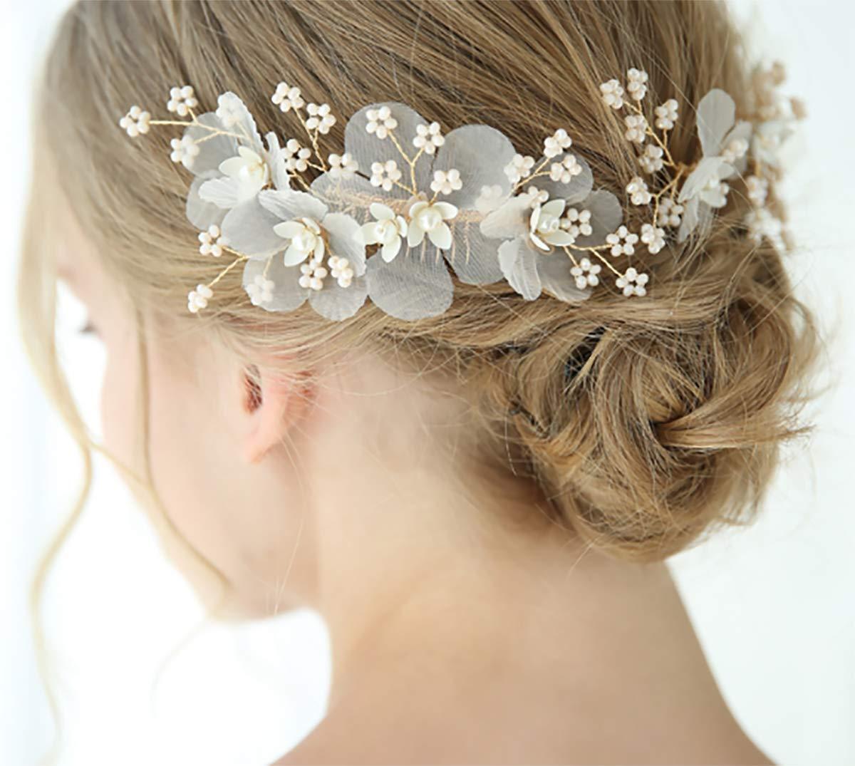 Chargances Bride 3pcs Floral Hair Pin Comb Wedding Overseas parallel import Max 46% OFF regular item Hai Gold
