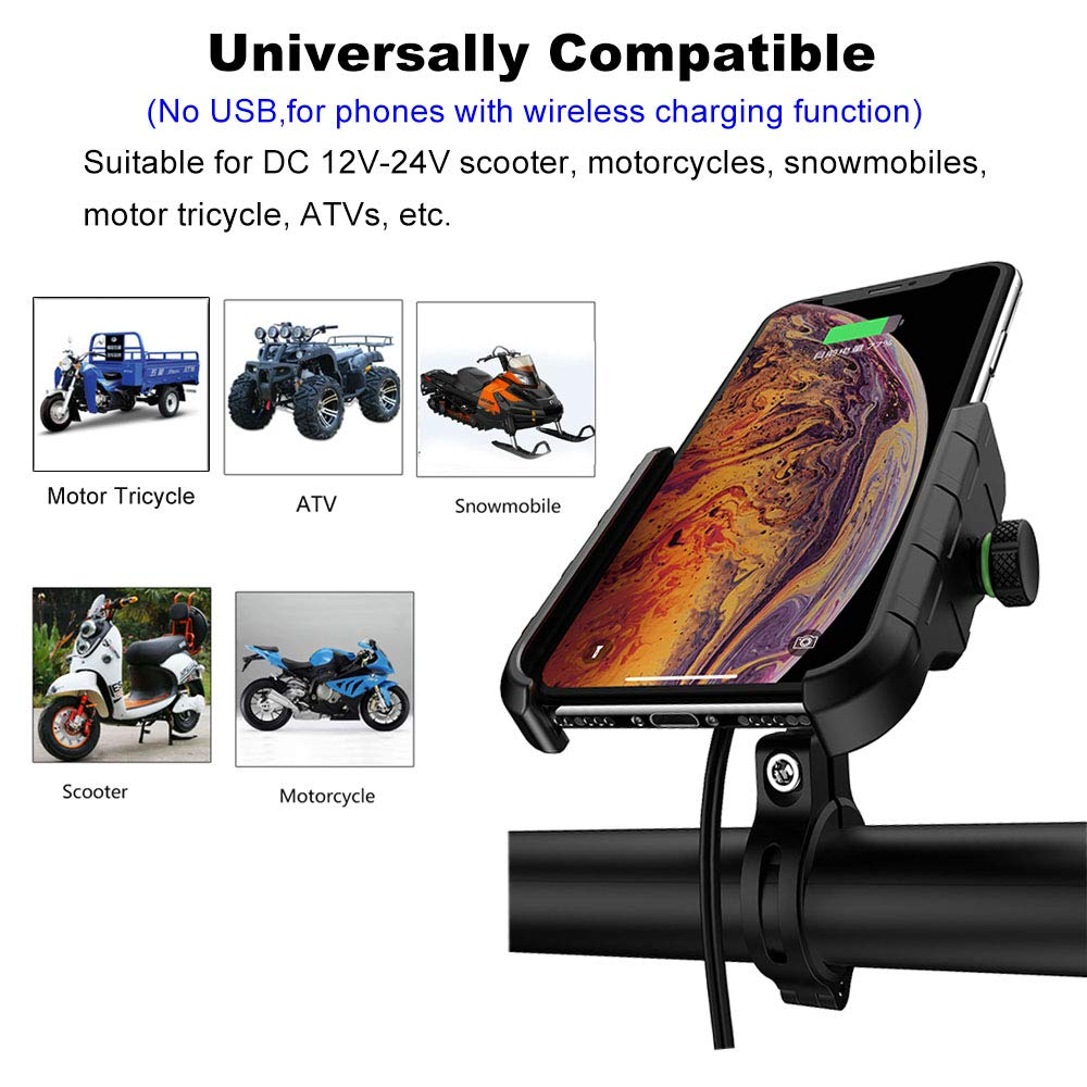 Blue NO USB Motorcycle Phone Holder with Wireless Charger,BUENNUS Motorcycle Wireless Phone Charger Mount 10W for Samsung Galaxy S10 S10 S10E S9 S9+,7.5W for iPhone XR XS MAX XS X 8 8Plus