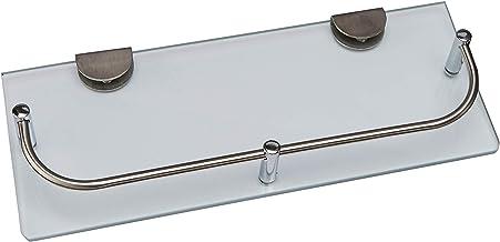 Noveltia HB-5697 - Repisa de cristal con baranda de acero inoxidable, ideal para baño