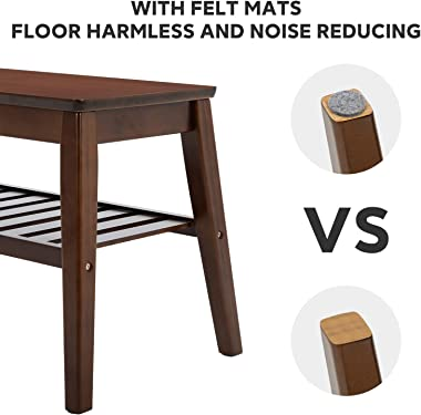 Shoes Rack Bench Large Nnewvante Free Standing Shoes Organizer Bamboo Entry Bench Storage Shelf for Entryway Hallway Living Room Bedroom-33.5in
