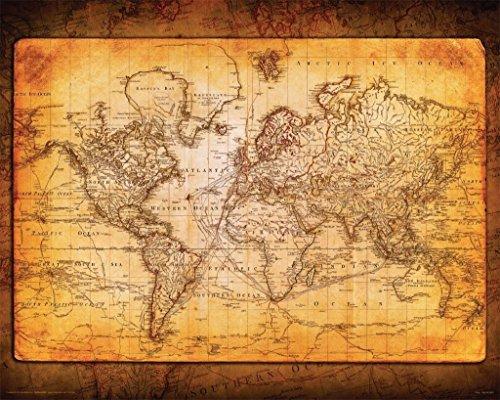 World Map Antique Poster Print (20 X 16)