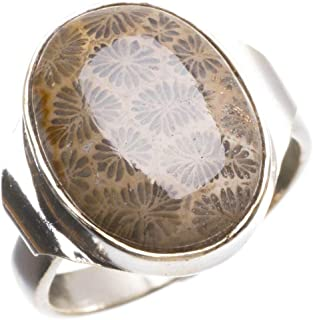 Natural Fossil Coral Handmade Indian 925 Sterling Silver Ring, US Size 7 T5737