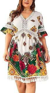 Swahugh Plus Size Boho Dresses for Women - Summer Beach Dresses Sexy V Neck Sundresses High Waist Ruffle Sleeve Midi Dress