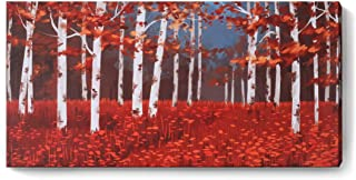 Canvas Wall Art Red Forest Landscape Picture Prints Modern Birch Trees Nature Abstract Painting Artwork 'Dream Forest' Gallery and Framed for Home Office Living Room Bedroom Decor One Panel 16