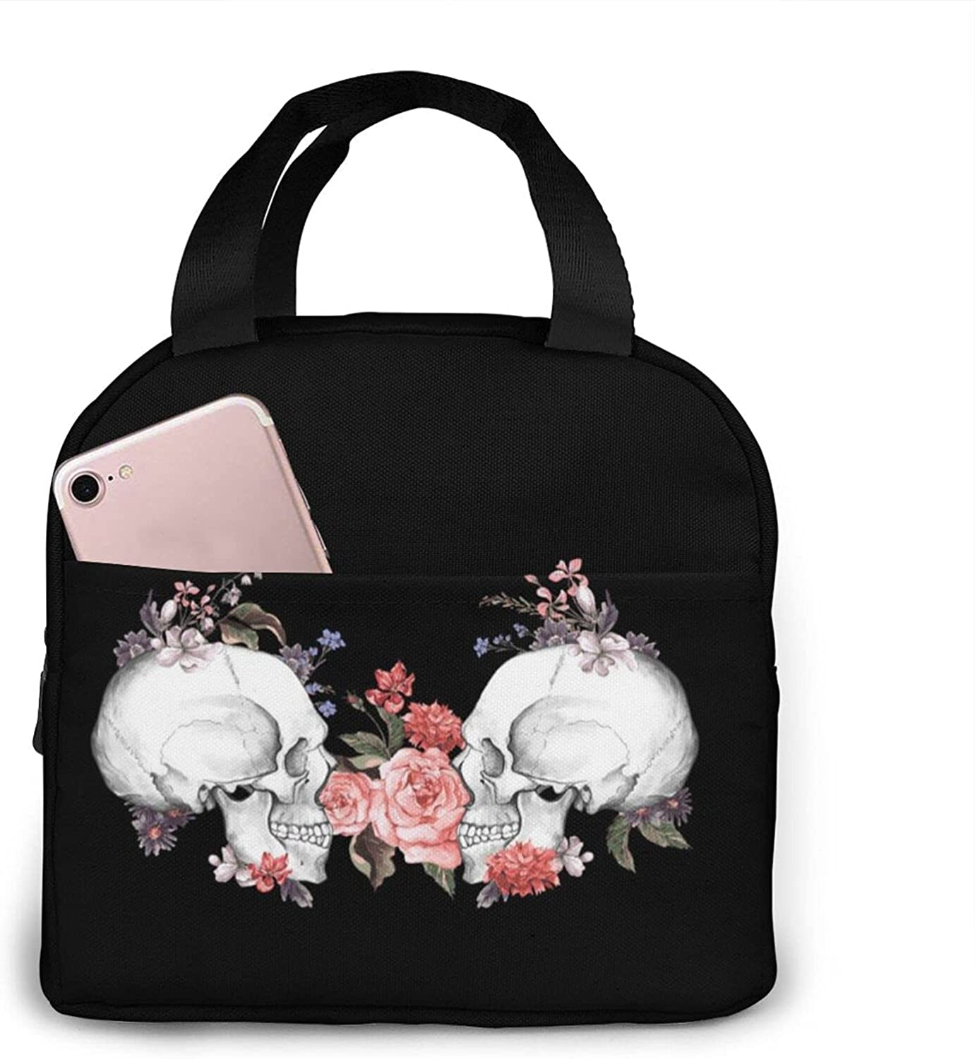 Day of the Dead Lunch Bag Double-Layer Insulated Lunch Box Bag Waterproof And Leak-Proof Ice Bag Picnic Bag Reusable Men And Women Travel Portable Storage Bag