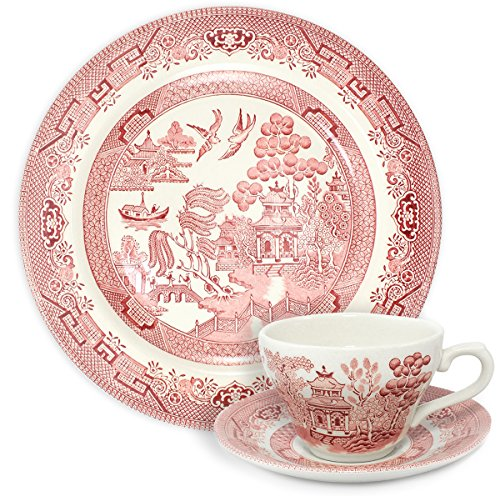 Churchill Pink Willow Dinner Plate with Cup and Saucer - 3 Piece Set