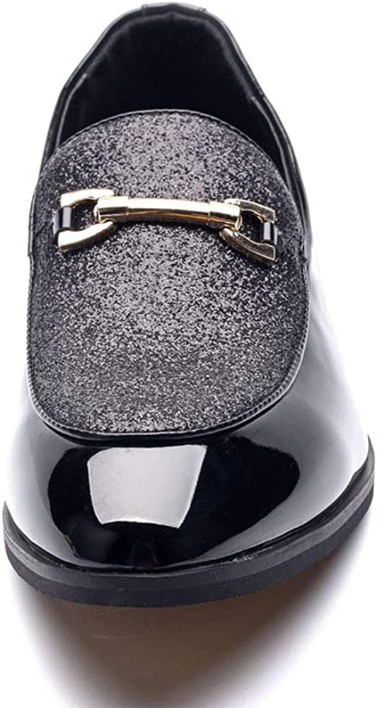 FLQL Mens Luxury Penny Diamond-Encrusted Slip-On Loafer Party Dancing Shoes