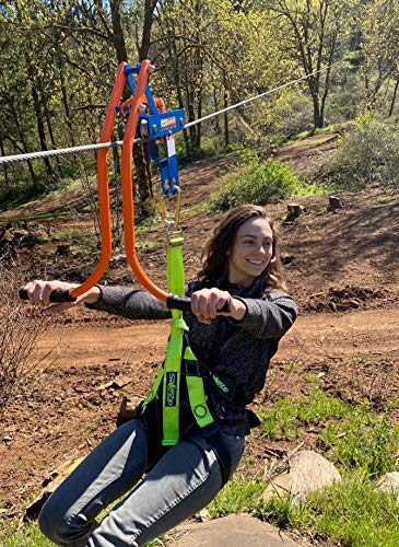 Zip line Trolley with brake - Featuring the revolutionary, patented no-wear braking system…the first of its kind in the Zip line industry. Pull back on handle bars to slow down or stop - Pro v