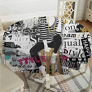 ScottDecor Dining Round Tablecloth Girls Model Posing and Sitting on Tabouret with Clothes Grunge Street Style Print Black and White Outdoor Picnics Diameter 70