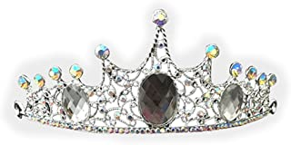 PIXNOR Matrimonio corona nuziale corona Hairband strass decorati Tiara (argento)