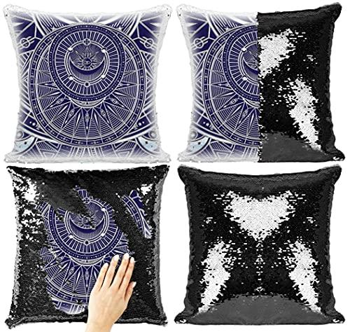 Fan-dom Magic Spell Circle Golden Mystical Alchemy Witchcraft Circular Emblemas Geometría Oculta Signos de Brujería Lentejuelas Funda de almohada mágica Flip Pillow (Estilo 8)