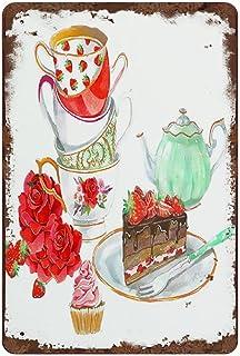 graman Plaque décorative vintage en métal avec inscription « Tea Time » - Décoration murale pour la maison, la cuisine, la...