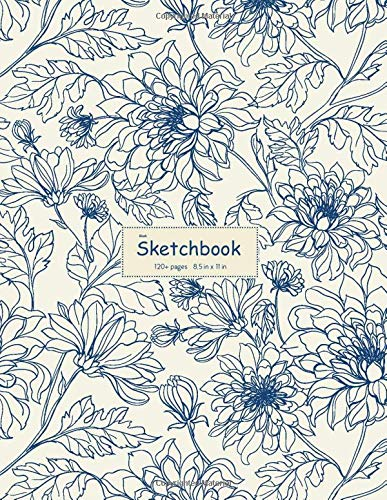 Blank Sketchbook: Notebook for Drawing, Sketching, Doodling, Crayon Coloring, Writing, or Learning to Draw 120+ Pages, 8.5x11 (Vintage Flower Cover )