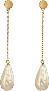 Kate Spade New York Womens Gold Standard Pearl Linear Earrings