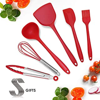 Silicone Kitchen Cooking Utensils Set for Cooking Baking, Rubber Spatulas Cookware Bakeware Set Heat Resistant Non-Stick (Cooking Set Red-6)