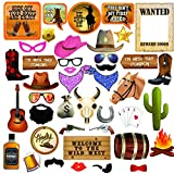 Western Cowboy Photo Booth Props. Ultimate Wild West Party Decorations. 42 Texas Theme Photo Props with Wanted Sign. Complete with Glue Dots and Bamboo Sticks by Scapa Pro